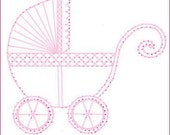Baby New Arrival Carriage Buggy Paper Embroidery Pattern for Greeting Cards
