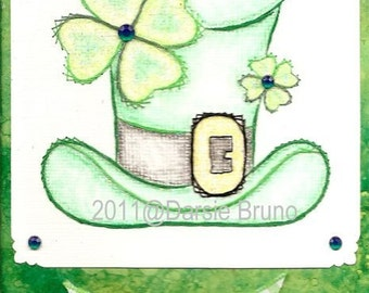 Leprechaun St. Patrick's Day Paper Embroidery Pattern for Greeting Cards