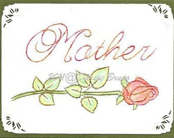Mother Script Sentiment Rose Embroidery Pattern for Greeting Cards