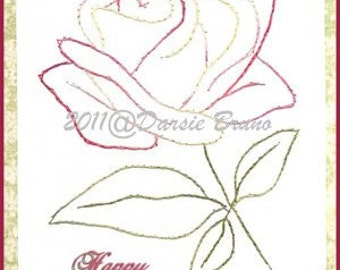 Floral Rose Flower Embroidery Pattern for Greeting Cards