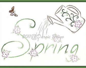 Floral Watering Can Spring Embroidery Pattern for Greeting Cards