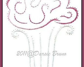 Ice Cream Sundae Summer Embroidery Pattern for Greeting Cards