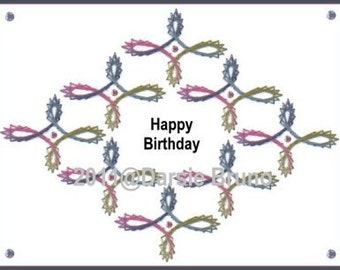 Diamond Swirl-a-thon Embroidery Pattern for Greeting Cards