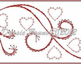 Valentine Filigree Heart Border  Embroidery Pattern for Greeting Cards