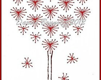 Valentine Heart Love Tree  Embroidery Pattern for Greeting Cards