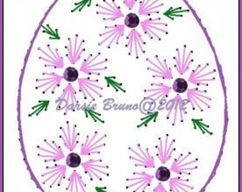 Floral Egg Easter  Embroidery Pattern for Greeting Cards