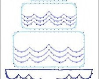 Wedding Cake Bride Paper Embroidery Pattern for Greeting Cards