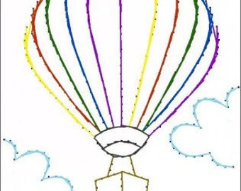 Hot Air Balloon Paper  Embroidery Pattern for Greeting Cards