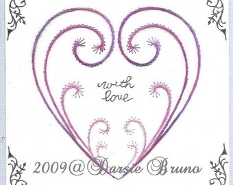 Stitched Heart Valentine Paper Embroidery Pattern for Greeting Cards