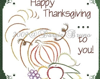 Thanksgiving Cornucopia Paper Embroidery Pattern for Greeting Cards