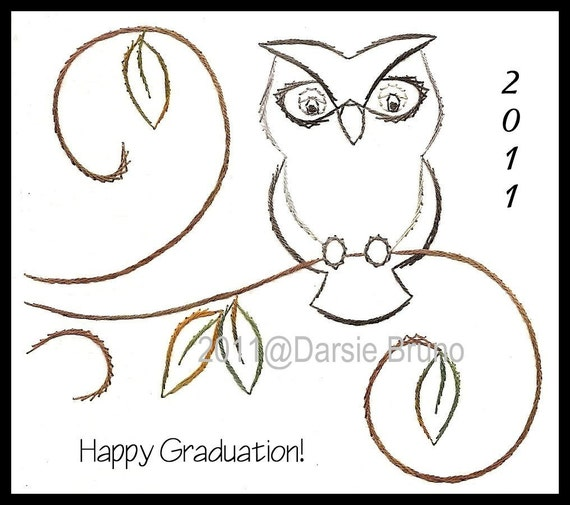 Wise Owl Graduation Paper Embroidery Pattern for Greeting Cards