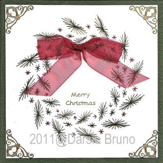 Christmas Wreath Paper Embroidery Pattern for Greeting Cards