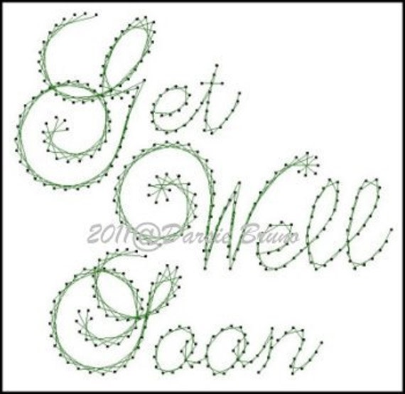 Get Well Soon Sentiment Paper Embroidery Pattern For Greeting