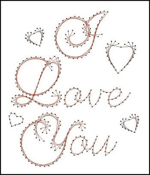 paper pricking templates - i love you sentiment paper embroidery pattern for greeting