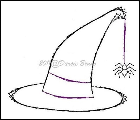 Halloween witch hat embroidery pattern for greeting cards for Paper witch hat template