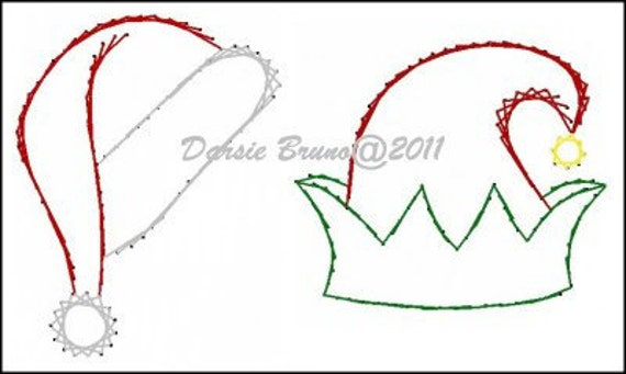 Santa Elf Christmas Hats Embroidery Pattern for Greeting by Darse