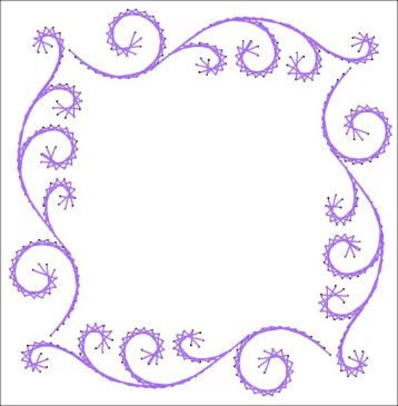 Flourish Swirl Frame All Occasion Paper Embroidery Pattern For