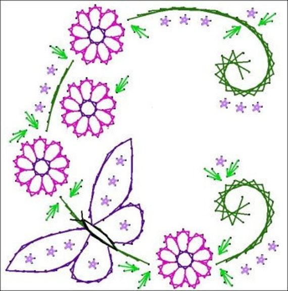 Floral Butterfly Circle Paper Embroidery Pattern For Greeting