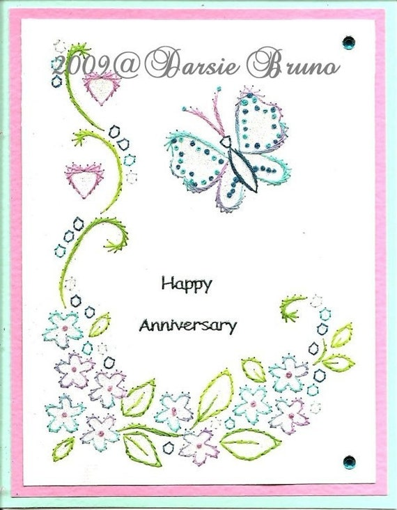 Floral Butterfly Paper Embroidery Pattern For Greeting Cards