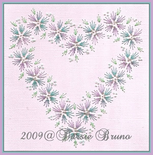 Floral heart wedding valentine paper embroidery pattern for