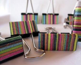 "Binder Clips - ""Crayon Stripe"""