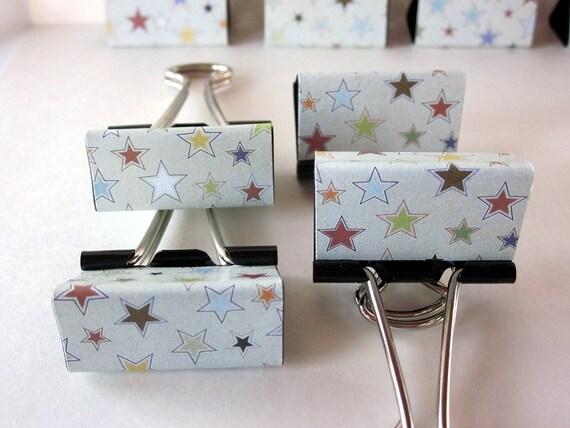 "Binder Clips - ""Silver Star"" 12 medium binder clips"