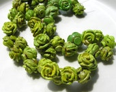 Apple Green Magnesite Carved Flower Beads  4