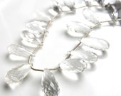 Stunning Crystal Clear Rock Crystal Faceted Long Briolettes   2