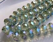Stunning 12x8mm Faceted Aqua Celsian Crystal Rondelles    6   SPRING 2011