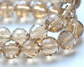 Light Topaz 10mm Faceted Crystal Round Beads     10