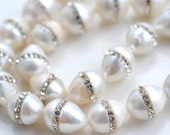 Large White Teardrop Freshwater Pearls with Channel Set Cubic Zirconia   2