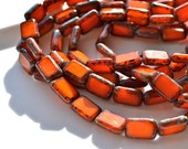 Opal Orange Picasso 12x8mm Table Cut Rectangle Beads   10