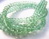 Green Topaz Quartz Rondelle Beads  6x4mm 20 beads