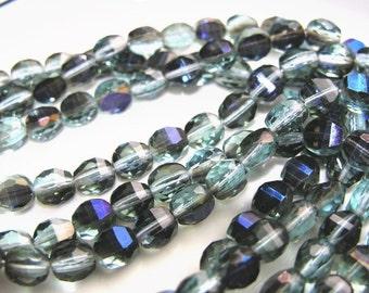 10mm Aqua Azuro Two Way Fire Polish Rounds   12 beads