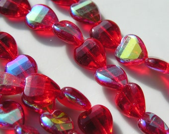 Red AB Fire Polish Long Drilled Heart Beads  15