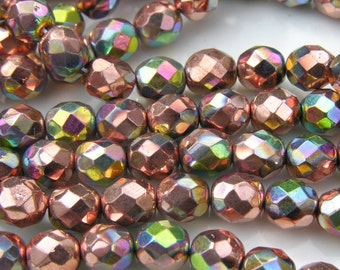Apollo Gold Vitrail 8mm Faceted Czech Glass Beads  25