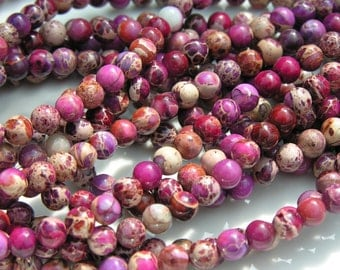 Purple Impression Jasper  6mm Round Beads FULL STRAND