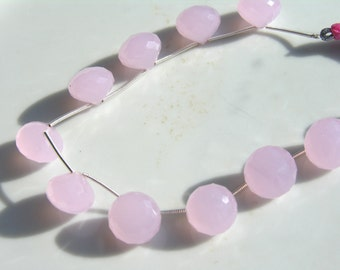 Large Pale Pink Chalcedony Onion Briolette Bead   1