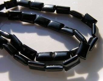 Black Onyx Chicklet Rectangle Beads 23x13mm 10 beads
