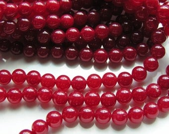 Red Jade 10mm Round Beads  FULL STRAND
