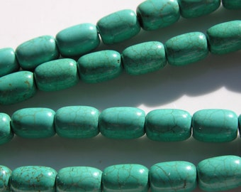 Deep Turquoise Blue Barrel Beads  FULL STRAND