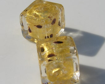 Gold Foil 14mm Leopard Cube Venetian Glass Beads    1
