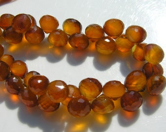 Brown Chalcedony 8mm Faceted Onion Briolettes Beads    6