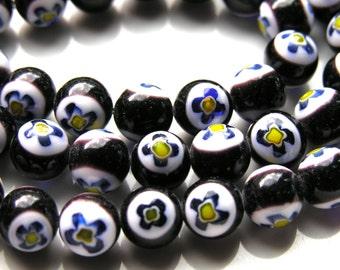 Black and White 10mm Millifiori Round Beads  10