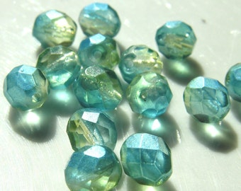 Light Blue and Pale Yellow 8mm Faceted Czech Glass Fire Polish with Light Pearl Coat  25