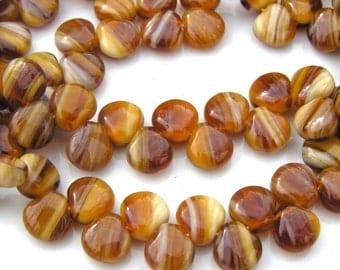 Caramel Swirl Shells  9mm Czech Glass 25