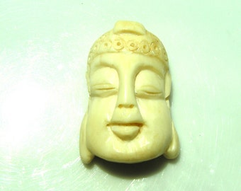 Buddha Head Carved Bone Bead Pendant  ONE