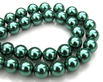 Deep Teal Green 10mm Round Glass Pearl Beads FULL STRAND