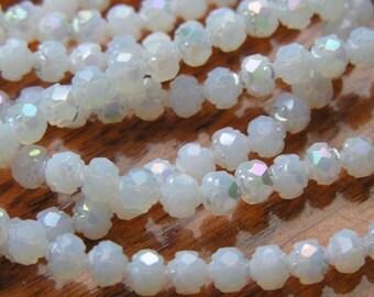 Milky White Luster 6mm Rosebud Beads  25