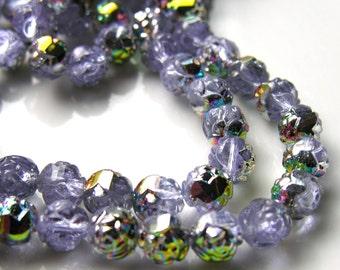 Lavender Rosebud Vitrial 7mm Glass Beads  25